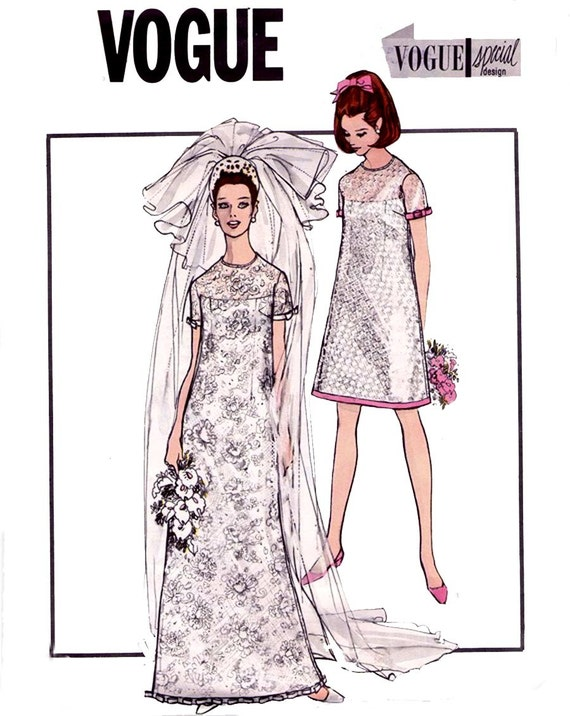 60s Wedding Dress Pattern Vogue Special Design 1852 Mod A Line Shift Bridal Gown Vintage Sewing Pattern Size 12 Bust 34 inches