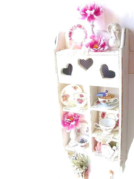 Vintage SHabby Cottage Decor. Tall Cupboard Wall Shelf Romantic Cottage Chic Victorian Style