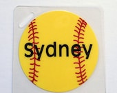 Softball Bag Tag Personalized Softball Gift Softball Girl Bag Tag Softball Bat Bag Tag Softball Party Favor Softball Team Gift Kids Bag Tag
