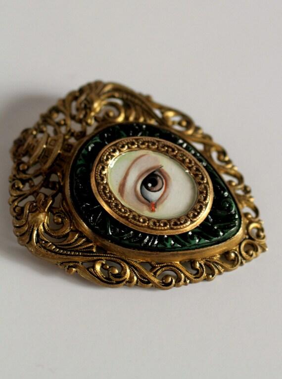Victorian Mourning Brooch Irish Lover S Eye Original