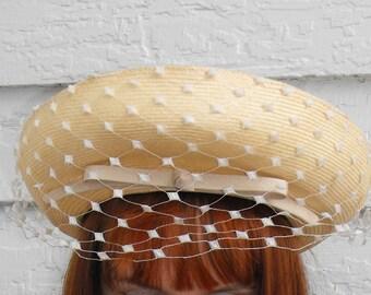 Straw Hat Vintage Leslie James Bullock's Pasadena 60s 1960s Veil New Old Stock
