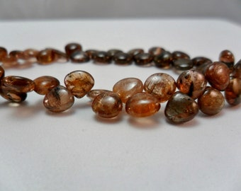 Gemstone Bead, Andalusite,Smooth Heart Briolette bead 5x6mm,,  8 pieces