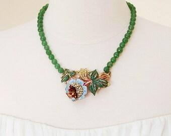Spring Flower Power Necklace. Repurposed 1920s Vintage Art Deco Rhinestone Pin, Brooch.
