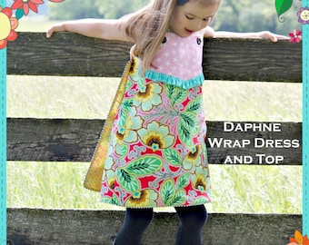 PDF Girls Dress Pattern - Daphne Wrap Dress and Top, Size 6 Month - 10 Years by The Cottage Mama