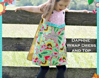 PRINTED Girls Dress Pattern - Daphne Wrap Dress and Top, Size 6 Month - 10 Years by The Cottage Mama