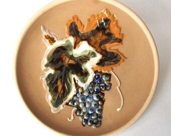 Blue Grape Vine - Vintage, Wall Hanging Plate Decor - Stoneware