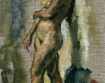 Standing Nude. Small Original Oil on Canvas, 5x8 inch Realist Interior Painting of a  Female Nude, Signed Original Fine Art