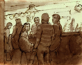 At The Grassroots Tavern, 1984, New York City, Original Ink Drawing, 6x8 Pen and Sepia, Signed Original East Village NYC Vintage Fine Art