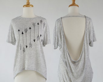 Arrows Scoop Back Blouse | Arrow Screen Print | Burnout Slouchy T | Black and White | Oatmeal Heather Open Back Pony Tee