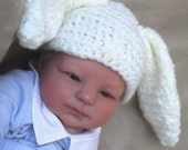 Adorable  Bunny Hat...0 to 3 Month size.... Girl or Boy...White & Pale Yellow Blend....PHOTOS...Ready to Ship NOW