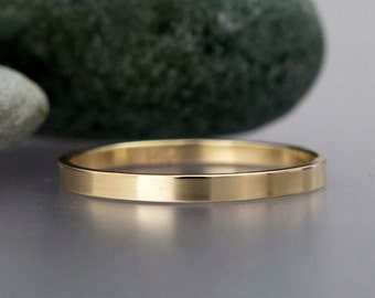 Gold Wedding Ring - Solid 14k Yellow Gold Band Flat Band