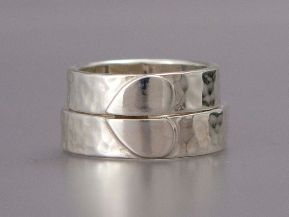 Heart Wedding Band Set - We Hold One Heart in Hammered Sterling Silver