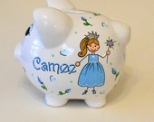 Piggy Bank Personalized Princess with Rosebuds and Hearts