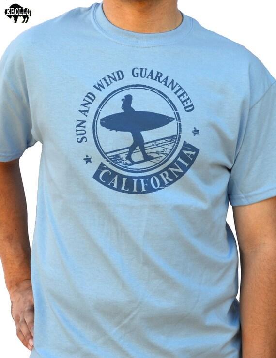 Husband gift beach surf california sun and wind t shirt for Surf shop tee shirts