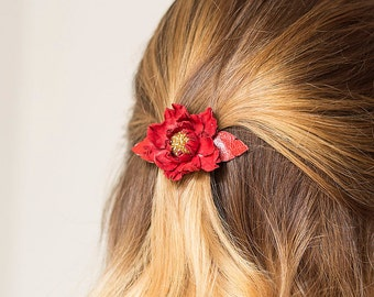 Red leather flower small french barrette, hair clip, boho, unique gift for her, Christmas gift
