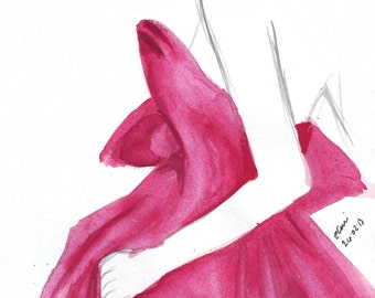 Watercolour fashion illustration Titled Regal in Marchesa
