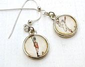 Steadfast Tin Soldier  -- RETIRING JUNE 6 -- hand painted dangle earrings, sterling silver ear wire, watercolor jewelry, fairy tale