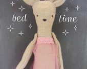 linen mouse doll // rose pink nightie