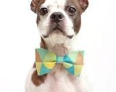 Retro Geometric Dog Bow Tie - Dog Collar Accessories