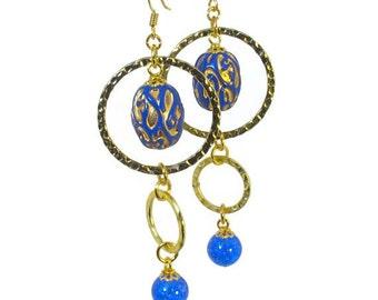 Cobalt Blue Statement Earrings,  Dangling, Bead Dangle, Modern Vintage Jewelry