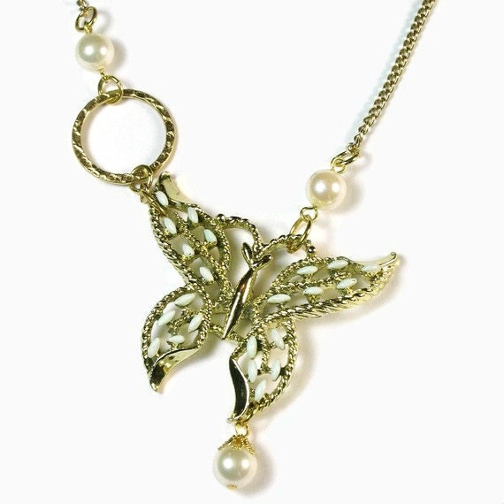 Whimsical  Necklace, Butterfly Pendant, Reclaimed Vintage, Altered Jewelry