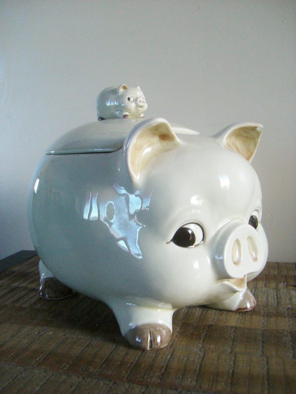Vintage Otagiri Piggyback Pig Cookie Jar