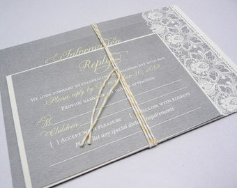 Lace Wedding Invitation in Yellow and Grey, Yellow Invites, Gray Lace Invitations, The Taylor Lace Invite Sample