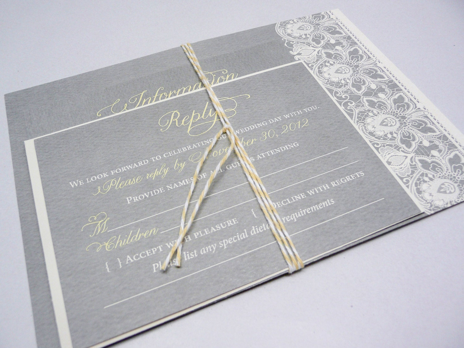 Wedding Invitation With Lace: Lace Wedding Invitation In Yellow And Grey Yellow Invites