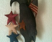 Made to Order Primitive Inspired Black Crow Americana Patriotic Red White Blue Stars American Flag Sweet Annie Rusty Star AB4B OFG HaFair