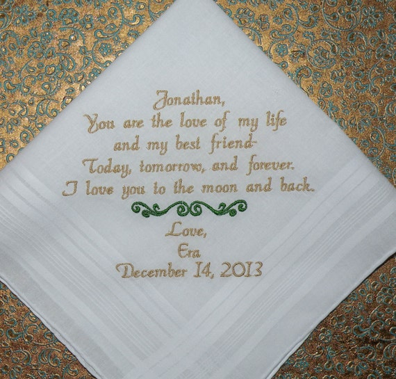 Fiance wedding gift embroidered handkerchief personalized