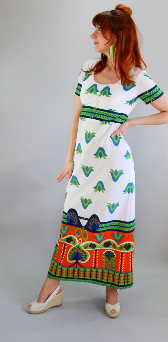 Sale-1960s White Orange Blue Green Mod Maxi Dress. Folk Art. Graphic Print. Day Dress. Spring Fashion. Size Medium