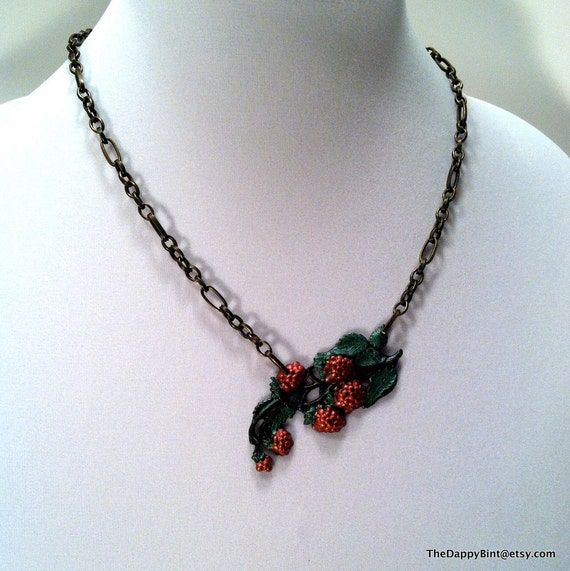 Raspberry Branch Necklace - Shimmering Hand Painted Berries - Luscious and LARGE