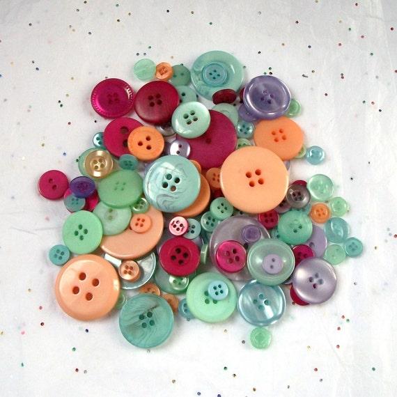 25 Deep Sherbert Button Mix,  Orange, Aqua, Pink, Green Mix assorted sizes - Crafting -  Jewelry -  Collect (b1174 -)