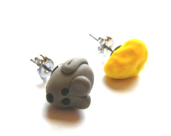 Mouse and Cheese Earrings - Surgical Steel Post Stud Earrings -Polymer Clay Food and Animals - Handmade - Unique