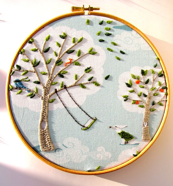 Personalise - Hand Embroidery Hoop Art - Aqua & Green - Windy Day 8 x 8 inch Embroidered Picture - by mirrymirry