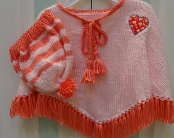 CHILD'S,  Poncho and hat set,baby pink, with Strawberry fringe and trimmings, heart, lacy applique