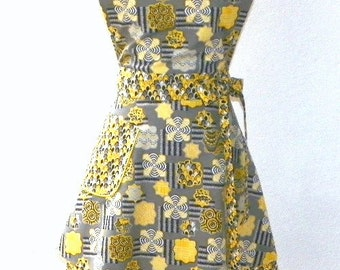 Retro Style Double Skirt Bib Apron Yellow Medallion on Grey