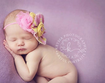 Lovely Little Lemonade- bright pink and yellow rosette with chiffon flower headband