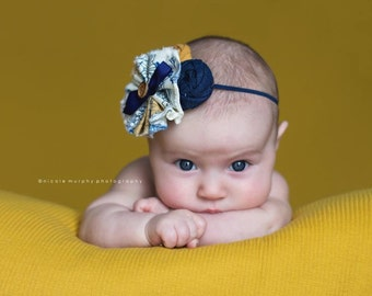 Denim Daydreamer- denim, navy blue and mustard ruffle and rosette headband