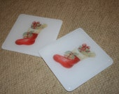 Colourful Christmas Stocking Picture Coaster