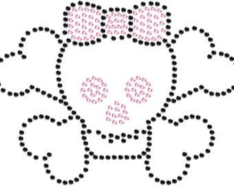 Girls Rhinestone Skull & Crossbone with Bow Shirt or Tank