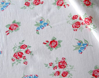Vintage 1940 Fabric Pink & Red Roses Blue Lilly of the Valley Floral- Cottage Chic Stylre