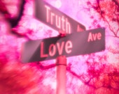 Fine Art Photo, Valentines Art, True Love, Street Signs, Hot Pink, Romantic Art, Lovers, Anniversay Gift, 8 x 10 Print, Wall Decor, Bokeh