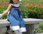 Nantucket Girl - Ellie Inspired Portrait Smocked Shirred Dress PDF pattern - sizes 4-12