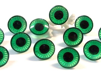19mm Plastic Doll EYES Crystal Cut Rimmed Twelve (12) Pairs Green Emerald Owl Eyes VINTAGE Doll Making Parts Jewelry Art Supplies (D16)