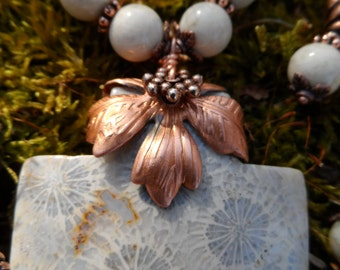 Coral Cross With Pure Copper Necklace Earrings Bracelet SET Walk On Water