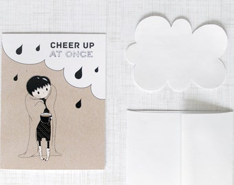 Cheer Up At Once - get well soon card, under the weather, funny