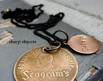 Seagrams Gin - 1937 vintage solid brass brand coin, stamped tag & black sealed link chain necklace