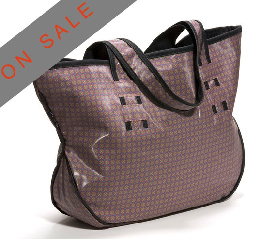 Waterproof BEACH BAG, PURPLE with small flowers pvc tote, large vegan shoulder bag for women- Gigi - On Sale 30% (Regular price 89 usd)