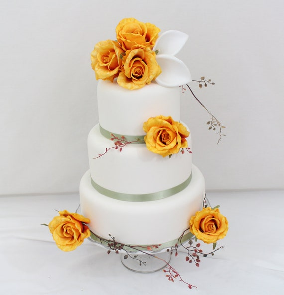 wedding cakes with roses and calla lilies wedding cake topper golden yellow calla silk 26105
